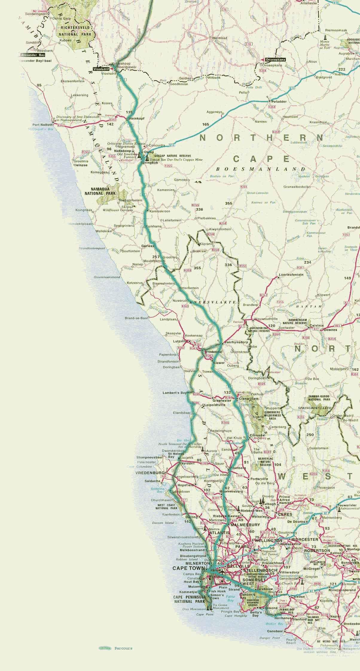Carte Afrique Du Sud Ouest.L Ouest De L Afrique Du Sud Partirou Com
