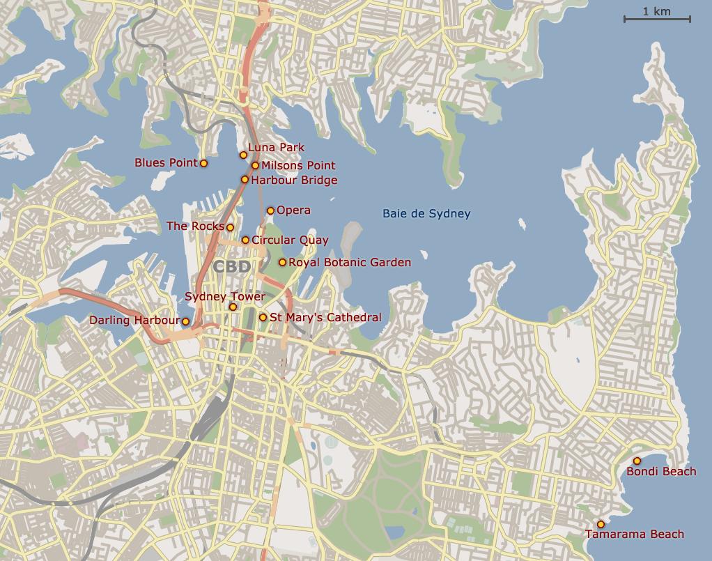 Carte Australie Grande Ville.Sydney Et Environs Partirou Com
