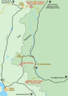 Carte des frontières Argentine/Chili à proximité du Parc National Torres del Paine et de Puerto Natales