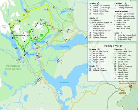 Carte du Parc National Torres del Paine - Chili