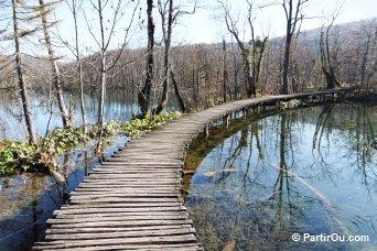 Ponton travsersant un lac de Plitvice - Croatie
