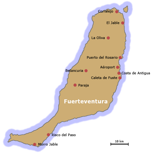 Carte Espagne Fuerteventura.Fuerteventura Une Ile Des Canaries Partirou Com