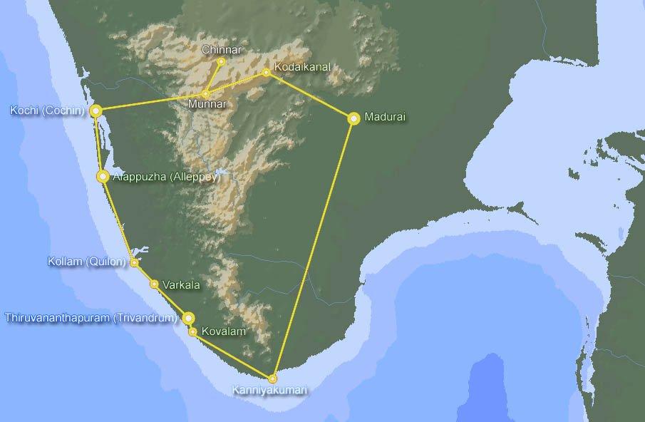 Carte De Linde Du Sud Cochin.L Inde Du Sud Partirou Com
