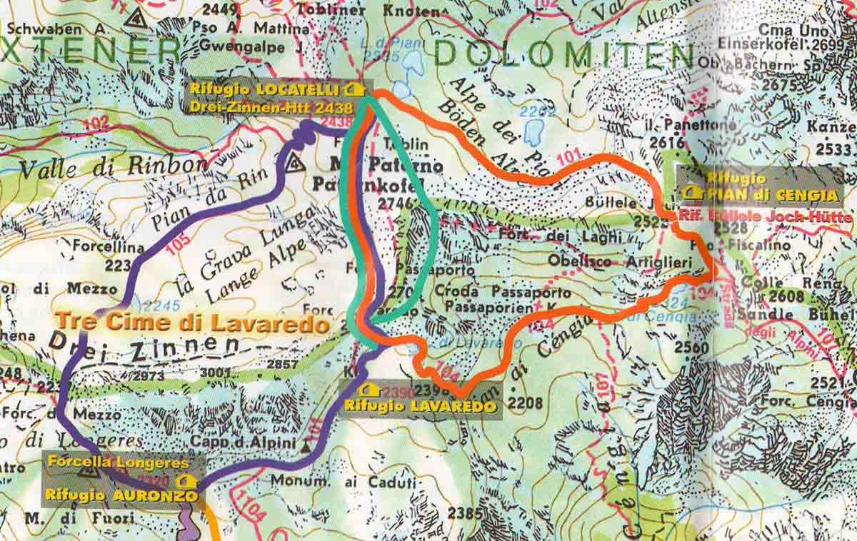 carte touristique des dolomites Les Dolomites (Italie)