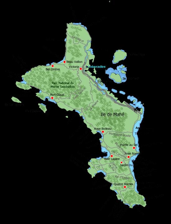 Carte De Lle Mah Seychelles
